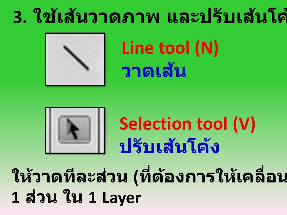 3. ใช้เส้นวาดภาพ และปรับเส้นโค้งตามภาพ Selection tool (V) ปรับเส้นโค้ง Line tool (N) วาดเส้น ให้วาดทีละส่วน ( ที่ต้องการให้เคลื่อนไหว ) และลงสี 1 ส่วน