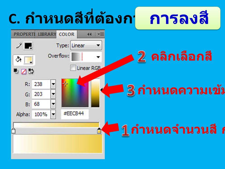 C. กำหนดสีที่ต้องการ กำหนดจำนวนสี การไล่สี กำหนดความเข้มของสี คลิกเลือกสี การลงสี