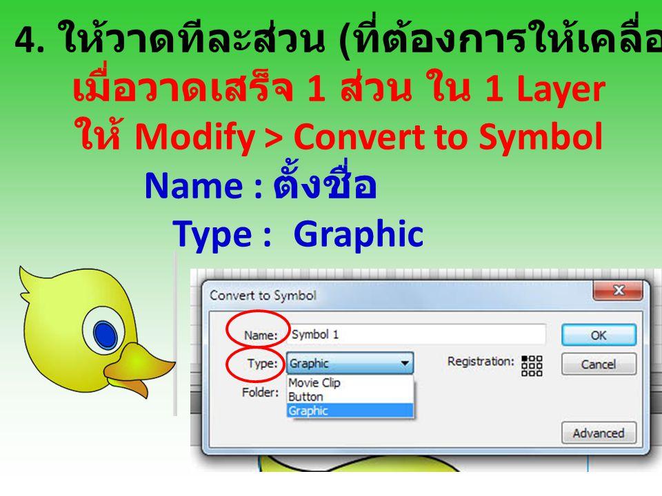 4. ให้วาดทีละส่วน ( ที่ต้องการให้เคลื่อนไหว ) และลงสี เมื่อวาดเสร็จ 1 ส่วน ใน 1 Layer ให้ Modify > Convert to Symbol Name : ตั้งชื่อ Type : Graphic