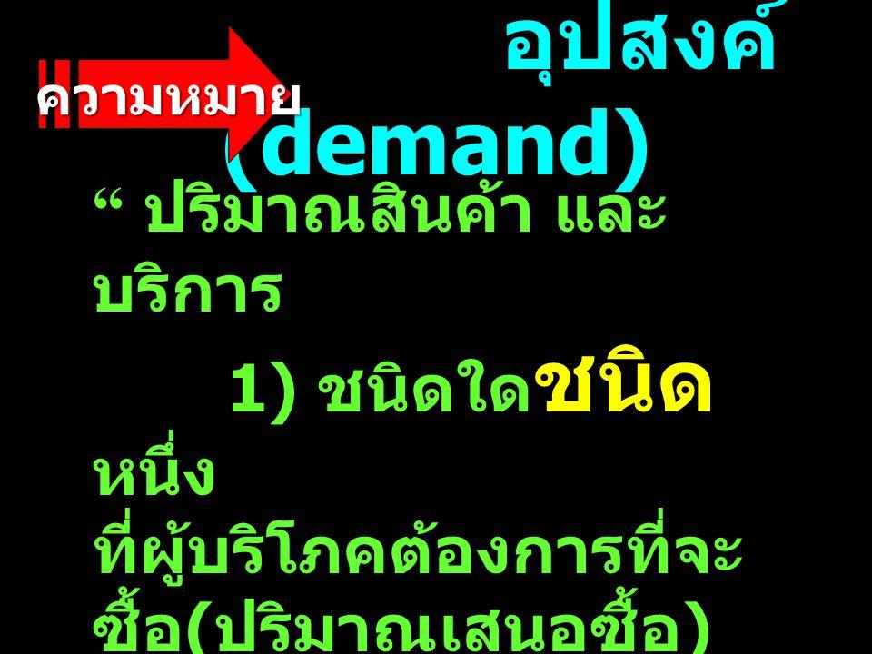 อุปสงค์ (demand) อุปสงค์ (demand) ปริมาณสินค้า และ บริการ 1) ชนิดใด ชนิด หนึ่ง ที่ผู้บริโภคต้องการที่จะ ซื้อ ( ปริมาณเสนอซื้อ ) 2) ณ ระดับ ราคา ต่างๆ 3) ในเวลาใด เวลา หนึ่ง ปริมาณสินค้า และ บริการ 1) ชนิดใด ชนิด หนึ่ง ที่ผู้บริโภคต้องการที่จะ ซื้อ ( ปริมาณเสนอซื้อ ) 2) ณ ระดับ ราคา ต่างๆ 3) ในเวลาใด เวลา หนึ่ง ความหมาย