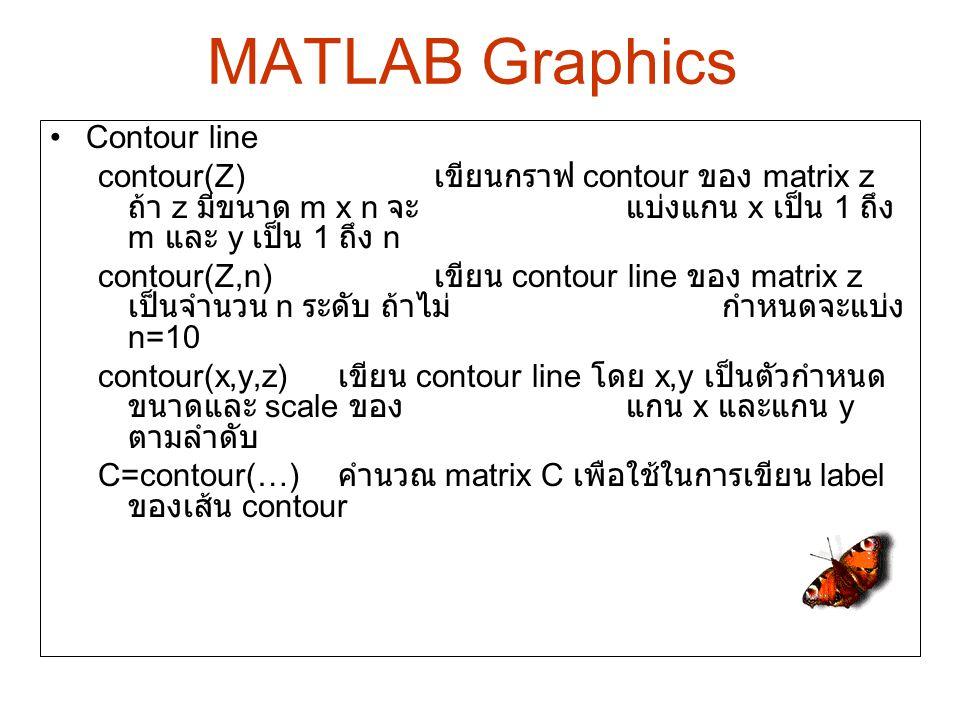 Contour line contour(Z) เขียนกราฟ contour ของ matrix z ถ้า z มีขนาด m x n จะแบ่งแกน x เป็น 1 ถึง m และ y เป็น 1 ถึง n contour(Z,n) เขียน contour line