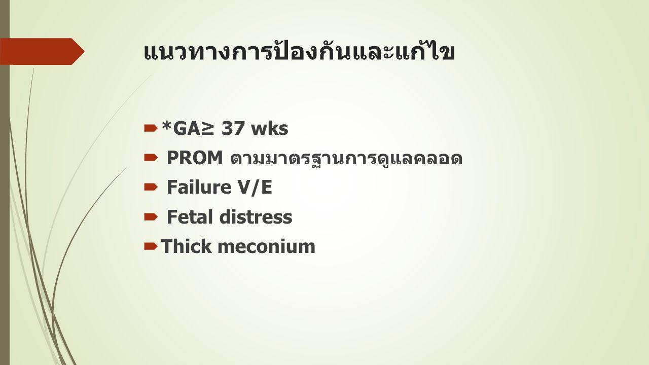 แนวทางการป้องกันและแก้ไข  *GA≥ 37 wks  PROM ตามมาตรฐานการดูแลคลอด  Failure V/E  Fetal distress  Thick meconium