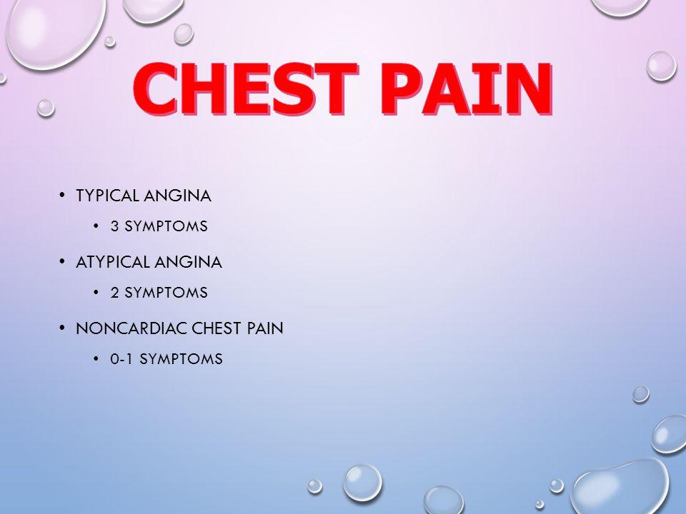 TYPICAL ANGINA 3 SYMPTOMS ATYPICAL ANGINA 2 SYMPTOMS NONCARDIAC CHEST PAIN 0-1 SYMPTOMS