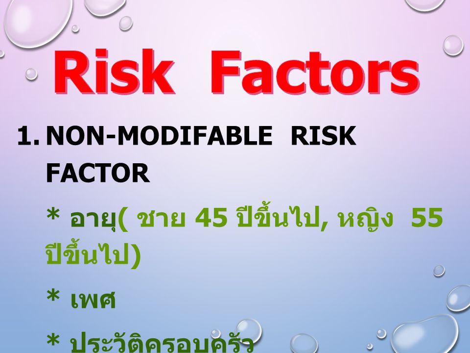  NON-MODIFABLE RISK FACTOR * อายุ ( ชาย 45 ปีขึ้นไป, หญิง 55 ปีขึ้นไป ) * เพศ * ประวัติครอบครัว