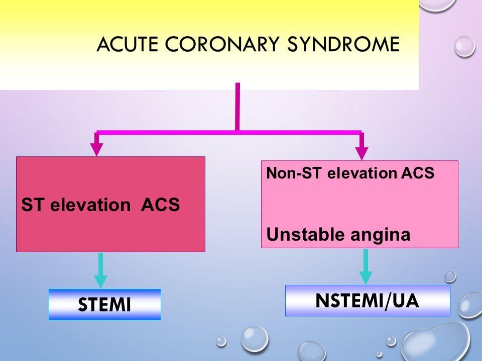 ACUTE CORONARY SYNDROME ST elevation ACS Non-ST elevation ACS Unstable angina STEMI NSTEMI/UA