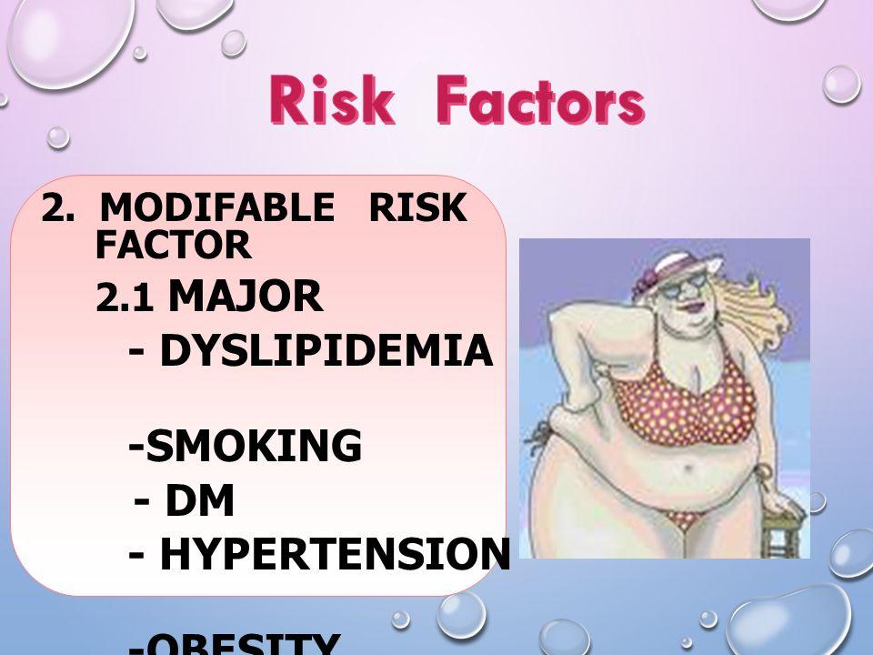 2. MODIFABLE RISK FACTOR 2.1 MAJOR - DYSLIPIDEMIA -SMOKING - DM - HYPERTENSION -OBESITY