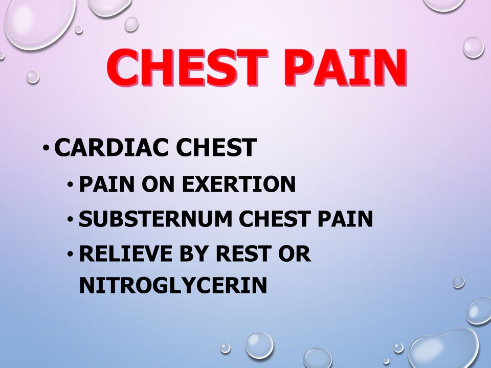 CARDIAC CHEST PAIN ON EXERTION SUBSTERNUM CHEST PAIN RELIEVE BY REST OR NITROGLYCERIN