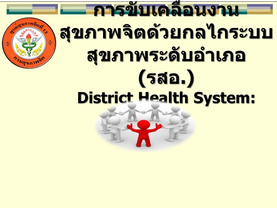 การขับเคลื่อนงาน สุขภาพจิตด้วยกลไกระบบ สุขภาพระดับอำเภอ ( รสอ.) District Health System: DHS