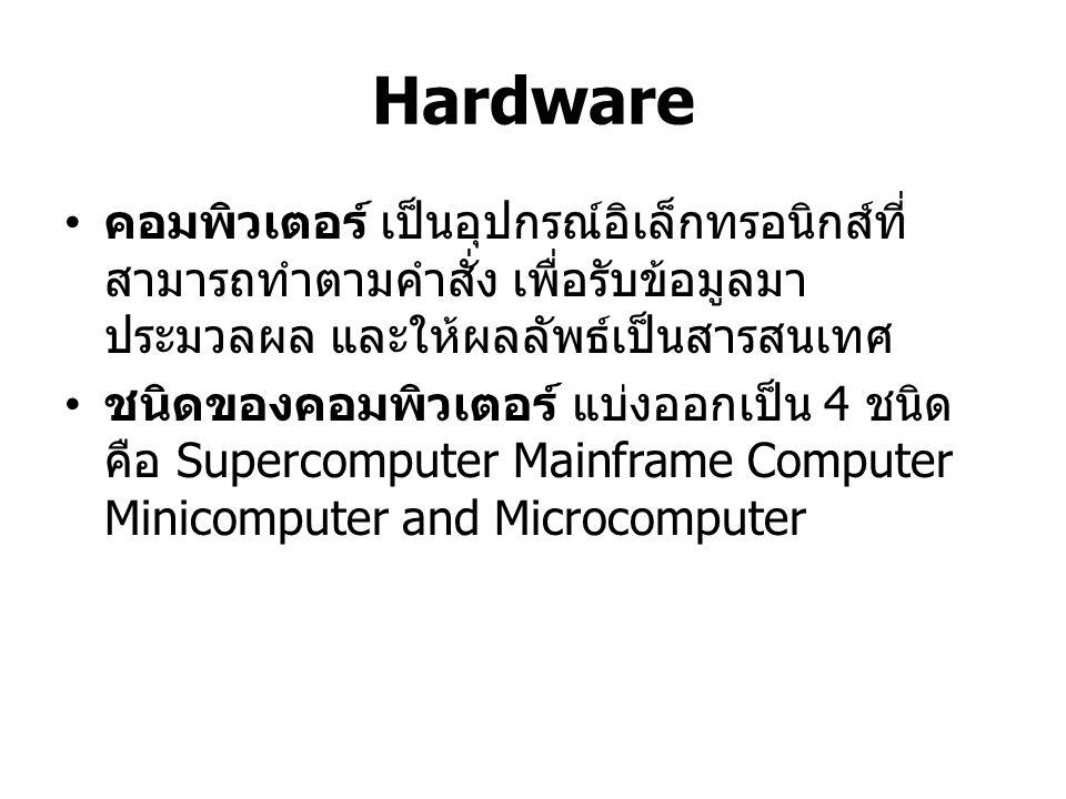 Supercomputer ซูเปอร์คอมพิวเตอร์ เป็นคอมพิวเตอร์ที่มี ประสิทธิภาพและความสามารถในการทำงานสูง มากเป็นพิเศษ มักจะใช้ในองค์กรขนาดใหญ่