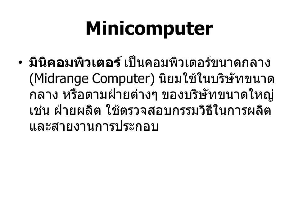 Microcomputer ไมโครคอมพิวเตอร์ เป็นคอมพิวเตอร์ที่มี ประสิทธิภาพน้อยที่สุดแต่ได้รับความนิยมมาก ที่สุด และพัฒนาไปเร็วกว่าคอมพิวเตอร์ชนิด อื่นๆ ไมโครคอมพิวเตอร์สามารถแบ่งออกได้ 6 ชนิด Desktop Computer Media Computer Notebook Computer Tablet PC (iPad SS Galaxy Tab) Netbooks Handheld Computer (PDA : Personal Digital Assistance)