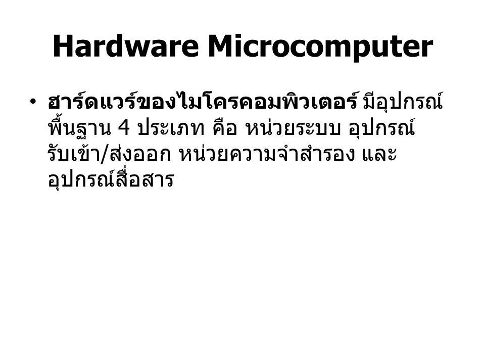 Hardware Microcomputer หน่วยความจำระบบ (System Unit) o Microprocessor ทำหน้าที่ควบคุมและ ประมวลผลข้อมูลเพื่อให้ได้สารสนเทศ o Primary Storage หรือ หน่วยความจำ เข้าถึงโดยสุ่ม (Random Access Memory) เรื่องสั้นๆ ว่า แรม (RAM) ทำ หน้าที่เก็บข้อมูลและคำสั่งต่างๆของโปรแกรม เพื่อรอการประมวลผล และเก็บสารสนเทศที่ ผ่านการประมวลผลแล้วก่อนที่จะส่งไปยัง อุปกรณ์ส่งออก