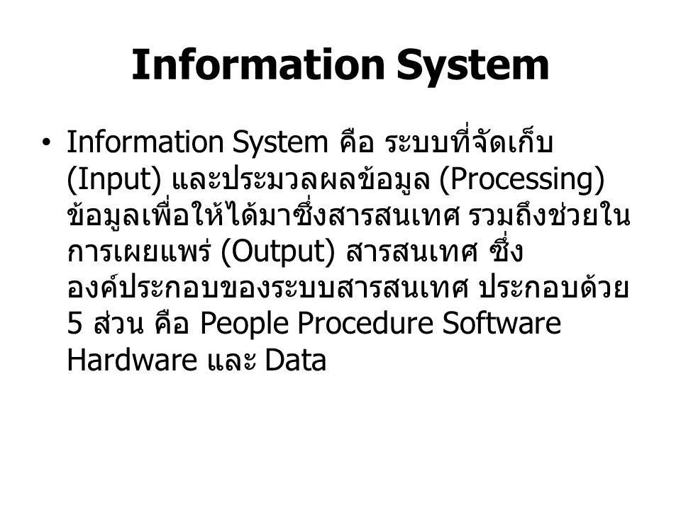 People บุคลากร เนื่องจากทุกๆ งานที่เกี่ยวกับ คอมพิวเตอร์จะต้องกระทำโดยบุคลากร หรือ ผู้ใช้ (User) ทั้งสิ้น ดังนั้นบุคลากรจึงเป็น องค์ประกอบสำคัญที่สุดของระบบสารสนเทศ