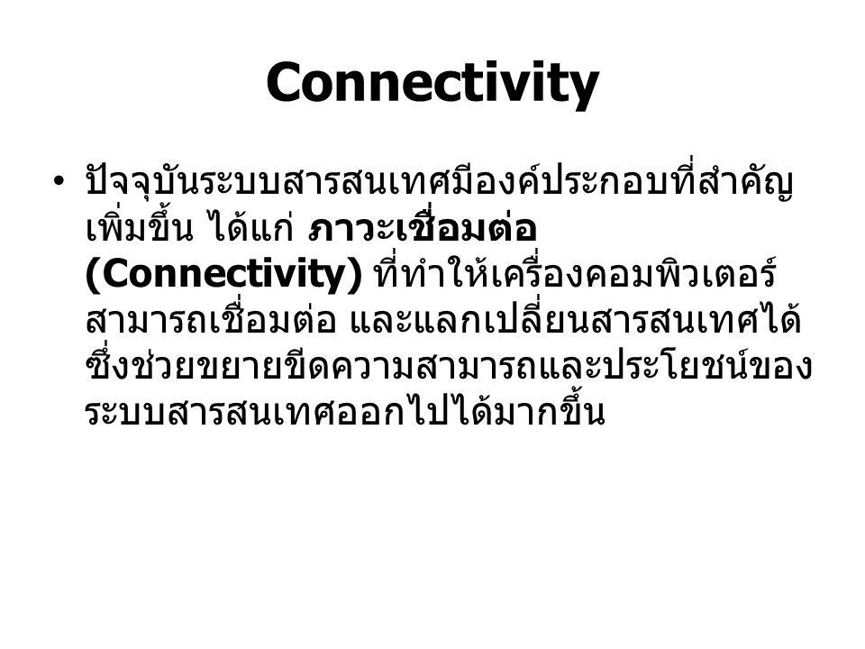 Connectivity เครือข่ายคอมพิวเตอร์ที่ใหญ่ที่สุดในโลกคือ Internet ซึ่งเป็นเครือข่ายคอมพิวเตอร์ขนาด ใหญ่ที่ทุกคนสามารถใช้ประโยชน์ได้โดยอาศัย ไมโครคอมพิวเตอร์เพื่อเป็นตัวเชื่อมโยงบน อินเตอร์เน็ตซึงมีบริการต่างๆ มากมาย เช่น World Wide Web