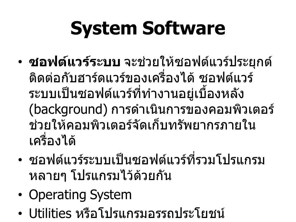Application Software ซอฟต์แวร์ประยุกต์ อาจกล่าวได้ว่าเป็น ซอฟต์แวร์สำหรับผู้ใช้ (End User Software) แบ่งเป็น 2 ประเภท คือ ซอฟต์แวร์ ประยุกต์พื้นฐาน และ ซอฟต์แวร์ประยุกต์ใช้งาน ซอฟต์แวร์ประยุกต์พื้นฐาน (Basic Application) หรือ ซอฟต์แวร์ประยุกต์ อเนกประสงค์ (General-purpose Application) เป็นซอฟต์แวร์ที่นิยมใช้กัน ทั่วไปอย่างกว้างขวางในทุกสาขาอาชีพ ตัวอย่าง Browser (IE, Google Chrome and Mozilla Firefox) หรือ Microsoft Office