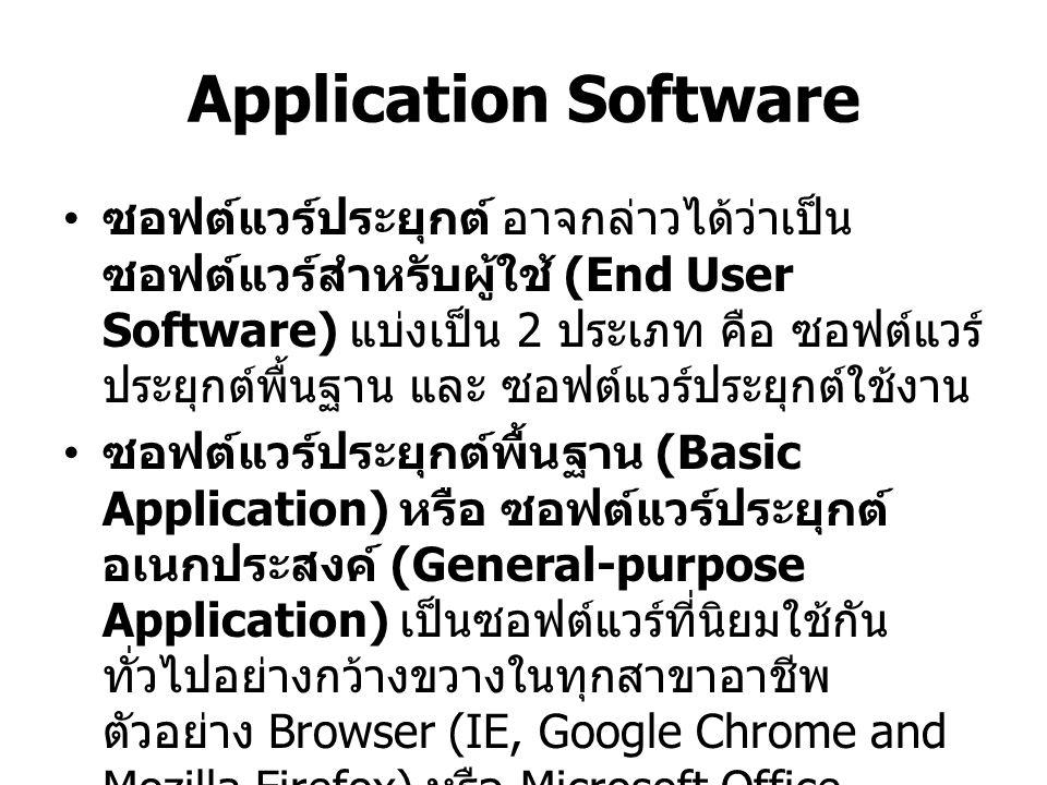 Application Software ซอฟต์แวร์ประยุกต์เฉพาะงาน (Specialized Application) เป็นซอฟต์แวร์ ที่พัฒนาขึ้นมาเพื่อใช้งานเฉพาะสาขาอาชีพ หนึ่ง ซอฟต์แวร์นี้เป็นที่รู้จักกันมากที่สุด คือ ซอฟต์แวร์ทางด้านกราฟิก (Graphic) เสียงและ วิดีโอ (Audio and Video) มัลติมีเดีย (Multimedia) การพัฒนาเว็บ (Web Authoring) และ ปัญญาประดิษฐ์ (Artificial Intelligent)