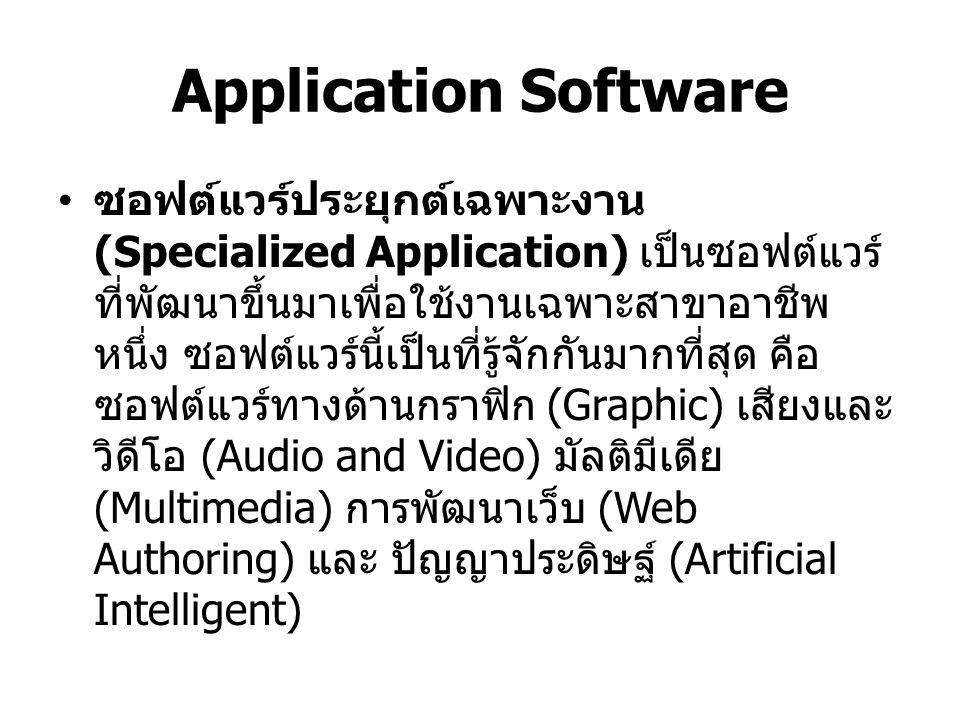 Hardware ฮาร์ดแวร์ เป็นอุปกรณ์ที่ใช้ในการประมวลผล ข้อมูลเพื่อสร้างสารสนเทศได้แก่ คีย์บอร์ด เมาส์ จอภาพ หน่วยระบบ และอุปกรณ์อื่นๆ ฮาร์ดแวร์ จะถูกควบคุมโดยซอฟต์แวร์