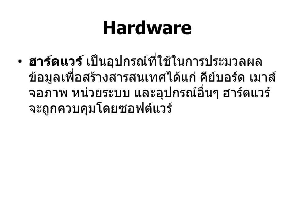 Hardware คอมพิวเตอร์ เป็นอุปกรณ์อิเล็กทรอนิกส์ที่ สามารถทำตามคำสั่ง เพื่อรับข้อมูลมา ประมวลผล และให้ผลลัพธ์เป็นสารสนเทศ ชนิดของคอมพิวเตอร์ แบ่งออกเป็น 4 ชนิด คือ Supercomputer Mainframe Computer Minicomputer and Microcomputer