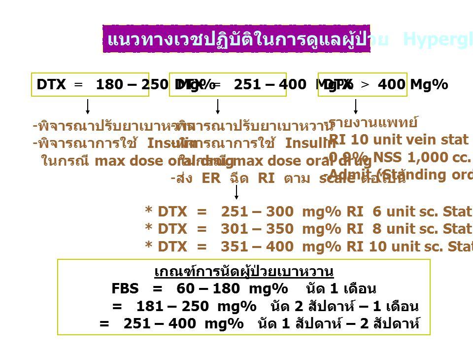 แนวทางเวชปฏิบัติในการดูแลผู้ป่วย Hyperglycemia DTX = 180 – 250 Mg%DTX = 251 – 400 Mg%DTX > 400 Mg% - พิจารณาปรับยาเบาหวาน - พิจารณาการใช้ Insulin ในกร