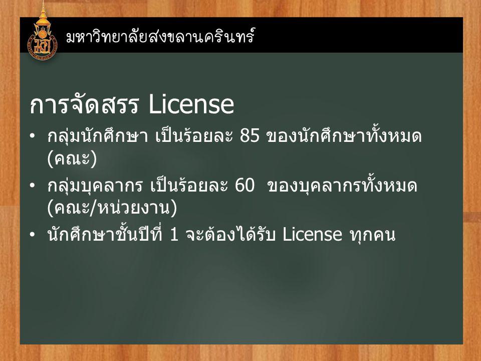 การจัดสรร License กลุ่มนักศึกษา เป็นร้อยละ 85 ของนักศึกษาทั้งหมด ( คณะ ) กลุ่มบุคลากร เป็นร้อยละ 60 ของบุคลากรทั้งหมด ( คณะ / หน่วยงาน ) นักศึกษาชั้นปีที่ 1 จะต้องได้รับ License ทุกคน