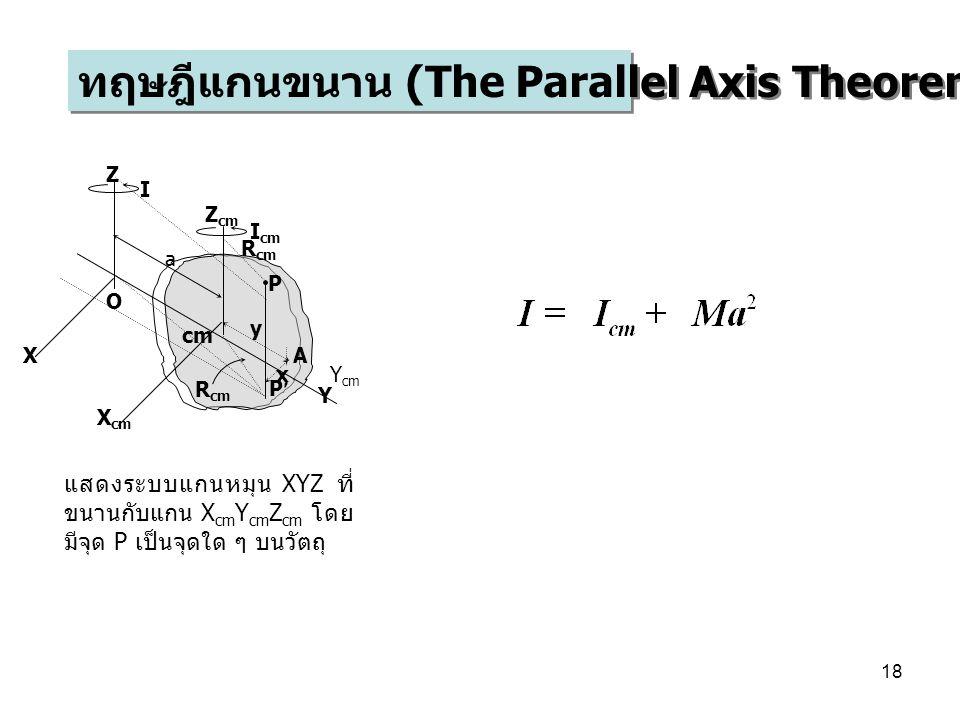 18 ทฤษฎีแกนขนาน (The Parallel Axis Theorem) O cm Z cm Y cm Y a P P A X Z X cm x y R cm I cm I แสดงระบบแกนหมุน XYZ ที่ ขนานกับแกน X cm Y cm Z cm โดย มีจุด P เป็นจุดใด ๆ บนวัตถุ