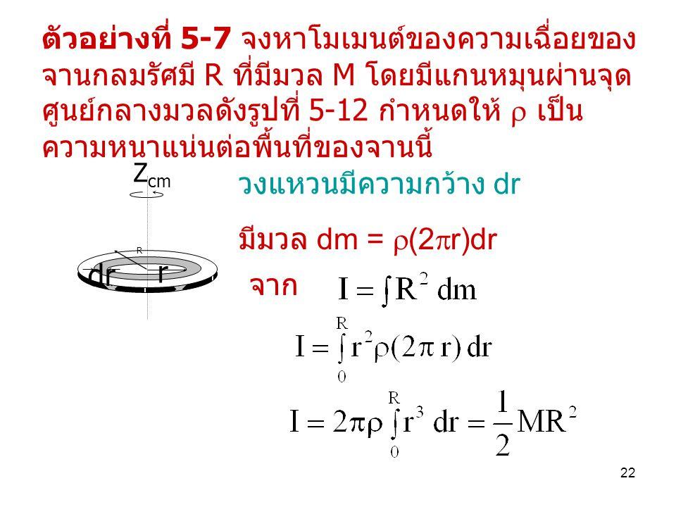 22 ตัวอย่างที่ 5-7 จงหาโมเมนต์ของความเฉื่อยของ จานกลมรัศมี R ที่มีมวล M โดยมีแกนหมุนผ่านจุด ศูนย์กลางมวลดังรูปที่ 5-12 กำหนดให้  เป็น ความหนาแน่นต่อพื้นที่ของจานนี้ dr R r Z cm วงแหวนมีความกว้าง dr มีมวล dm =  (2  r)dr จาก