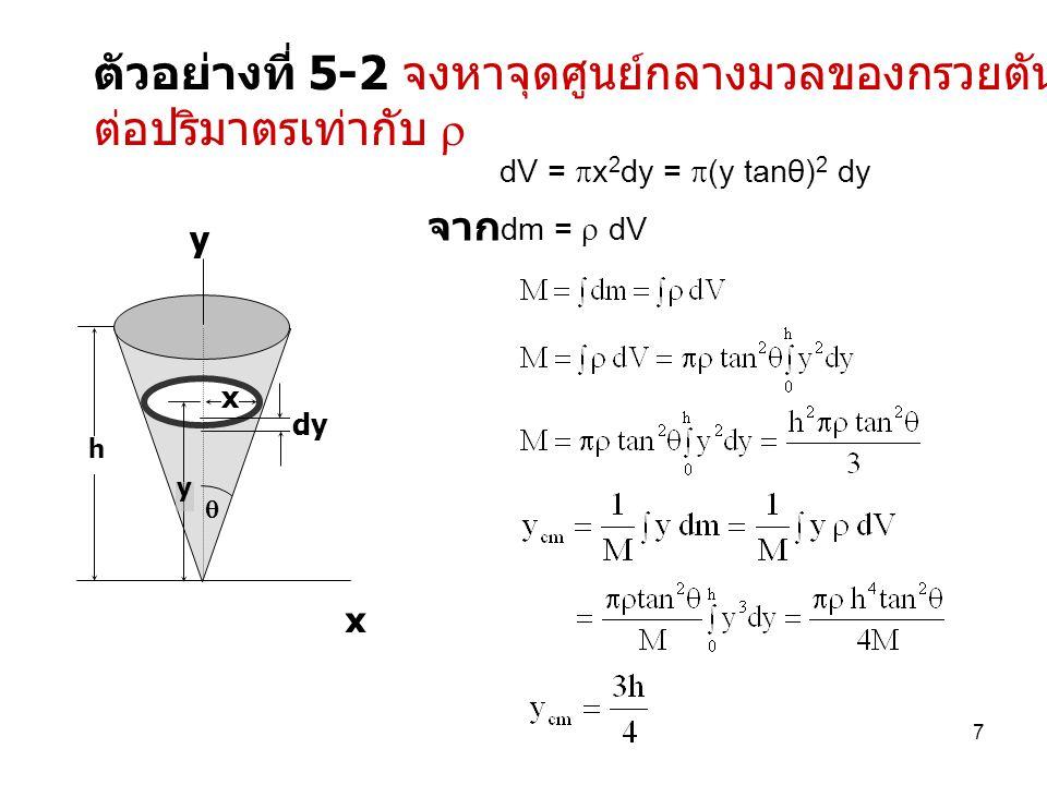 7 ตัวอย่างที่ 5-2 จงหาจุดศูนย์กลางมวลของกรวยตัน ซึ่งมีความหนาแน่น ต่อปริมาตรเท่ากับ  x dy y h  x y dV =  x 2 dy =  (y tanθ) 2 dy จาก dm =  dV