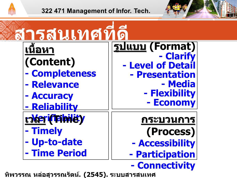 สารสนเทศที่ดี 322 471 Management of Infor. Tech. เนื้อหา เนื้อหา (Content) - Completeness - Relevance - Accuracy - Reliability - Verifiability รูปแบบ