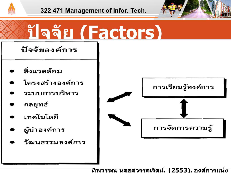 ปัจจัย (Factors) 322 471 Management of Infor. Tech. ทิพวรรณ หล่อสุวรรณรัตน์. (2553). องค์การแห่ง ความรู้ : จากแนวคิดสู่การปฏิบัติ