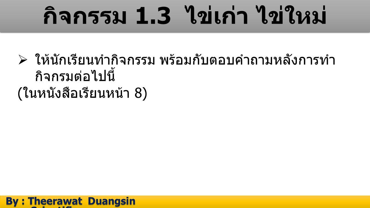 กิจกรรม 1.3 ไข่เก่า ไข่ใหม่ By : Theerawat Duangsin Scientific process By : Theerawat Duangsin Scientific process  ให้นักเรียนทำกิจกรรม พร้อมกับตอบคำ
