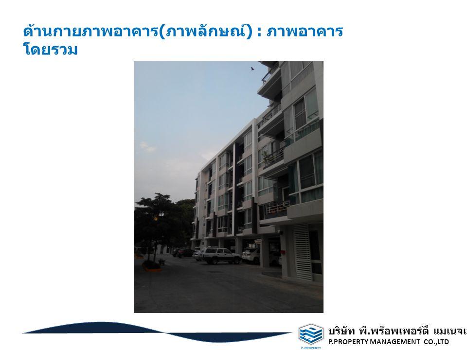 บริษัท พี. พร๊อพเพอร์ตี้ แมเนจเมนท์ จำกัด P.PROPERTY MANAGEMENT CO.,LTD ด้านกายภาพอาคาร ( ภาพลักษณ์ ) : ภาพอาคาร โดยรวม