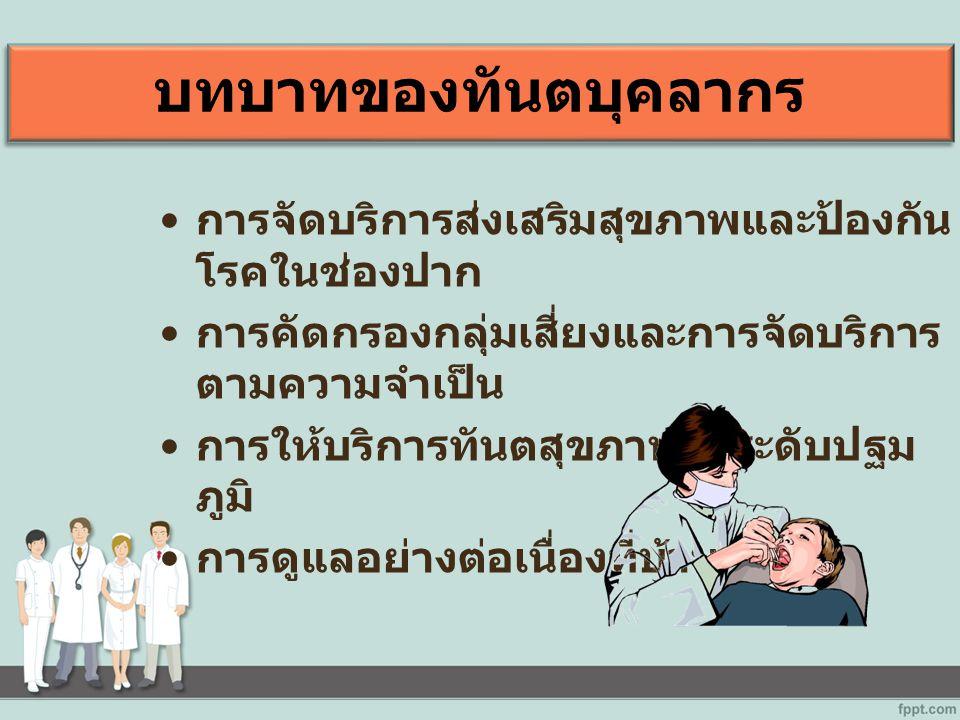 บทบาทของทันตบุคลากร การจัดบริการส่งเสริมสุขภาพและป้องกัน โรคในช่องปาก การคัดกรองกลุ่มเสี่ยงและการจัดบริการ ตามความจำเป็น การให้บริการทันตสุขภาพในระดับปฐม ภูมิ การดูแลอย่างต่อเนื่องที่บ้าน