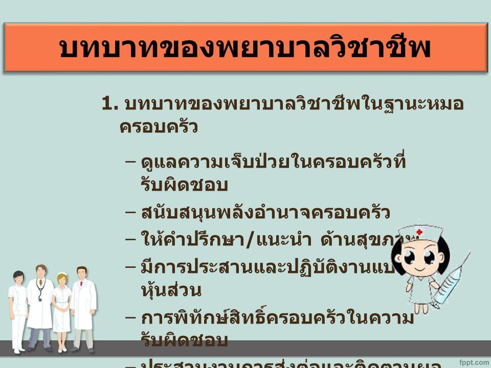 บทบาทของพยาบาลวิชาชีพ 1.