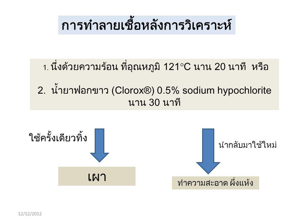 12/12/2012 การทำลายเชื้อหลังการวิเคราะห์ 1. นึ่งด้วยความร้อน ที่อุณหภูมิ 121  C นาน 20 นาที หรือ 2. น้ำยาฟอกขาว (Clorox®) 0.5% sodium hypochlorite นา