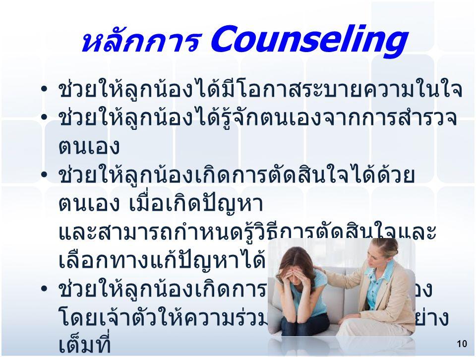 ช่วยให้ลูกน้องได้มีโอกาสระบายความในใจ ช่วยให้ลูกน้องได้รู้จักตนเองจากการสำรวจ ตนเอง ช่วยให้ลูกน้องเกิดการตัดสินใจได้ด้วย ตนเอง เมื่อเกิดปัญหา และสามารถกำหนดรู้วิธีการตัดสินใจและ เลือกทางแก้ปัญหาได้ ช่วยให้ลูกน้องเกิดการปรับตัวด้วยตัวเอง โดยเจ้าตัวให้ความร่วมมือกับหัวหน้าอย่าง เต็มที่ หลักการ Counseling 10