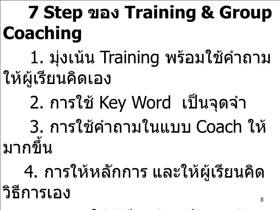 7 Step ของ Training & Group Coaching 1. มุ่งเน้น Training พร้อมใช้คำถาม ให้ผู้เรียนคิดเอง 2. การใช้ Key Word เป็นจุดจำ 3. การใช้คำถามในแบบ Coach ให้ ม