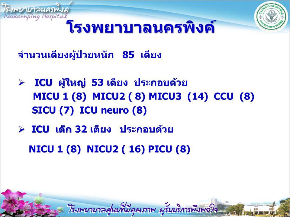 โรงพยาบาลนครพิงค์ จำนวนเตียงผู้ป่วยหนัก 85 เตียง ICU ผู้ใหญ่  ICU ผู้ใหญ่ 53 เตียง ประกอบด้วย MICU 1 (8) MICU2 ( 8) MICU3 (14) CCU (8) SICU (7) ICU n