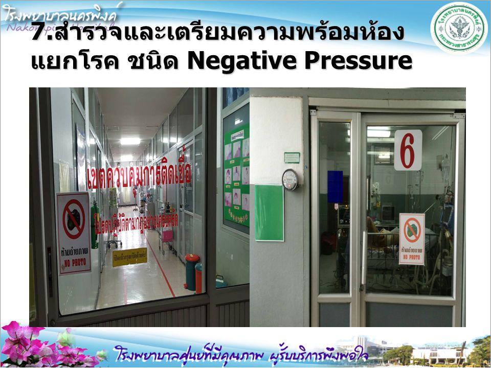 7.สำรวจและเตรียมความพร้อมห้อง แยกโรค ชนิด Negative Pressure