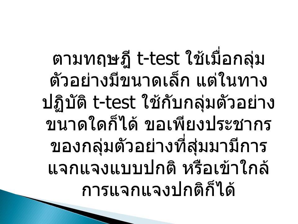 ตามทฤษฎี t-test ใช้เมื่อกลุ่ม ตัวอย่างมีขนาดเล็ก แต่ในทาง ปฏิบัติ t-test ใช้กับกลุ่มตัวอย่าง ขนาดใดก็ได้ ขอเพียงประชากร ของกลุ่มตัวอย่างที่สุ่มมามีการ