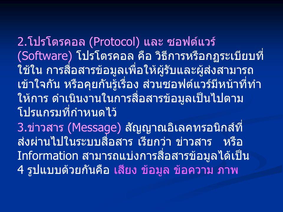 2. โปรโตรคอล (Protocol) และ ซอฟต์แวร์ (Software) โปรโตรคอล คือ วิธีการหรือกฏระเบียบที่ ใช้ใน การสื่อสารข้อมูลเพื่อให้ผู้รับและผู้ส่งสามารถ เข้าใจกัน ห