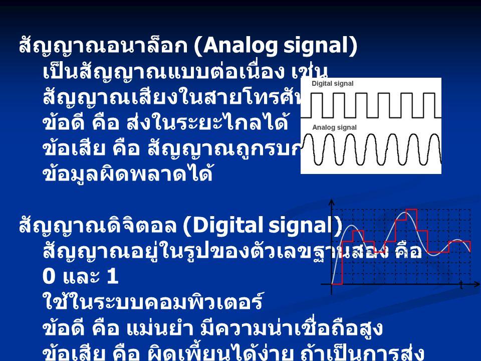 สัญญาณอนาล็อก (Analog signal) เป็นสัญญาณแบบต่อเนื่อง เช่น สัญญาณเสียงในสายโทรศัพท์ ข้อดี คือ ส่งในระยะไกลได้ ข้อเสีย คือ สัญญาณถูกรบกวนได้ง่าย ข้อมูลผิดพลาดได้ สัญญาณดิจิตอล (Digital signal) สัญญาณอยู่ในรูปของตัวเลขฐานสอง คือ 0 และ 1 ใช้ในระบบคอมพิวเตอร์ ข้อดี คือ แม่นยำ มีความน่าเชื่อถือสูง ข้อเสีย คือ ผิดเพี้ยนได้ง่าย ถ้าเป็นการส่ง ในระยะไกล