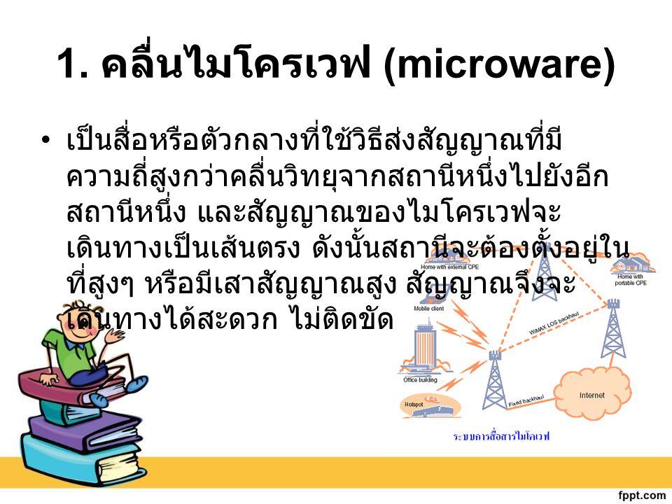 1. คลื่นไมโครเวฟ (microware) เป็นสื่อหรือตัวกลางที่ใช้วิธีส่งสัญญาณที่มี ความถี่สูงกว่าคลื่นวิทยุจากสถานีหนึ่งไปยังอีก สถานีหนึ่ง และสัญญาณของไมโครเวฟ