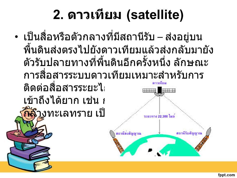 2. ดาวเทียม (satellite) เป็นสื่อหรือตัวกลางที่มีสถานีรับ – ส่งอยู่บน พื้นดินส่งตรงไปยังดาวเทียมแล้วส่งกลับมายัง ตัวรับปลายทางที่พื้นดินอีกครั้งหนึ่ง ล