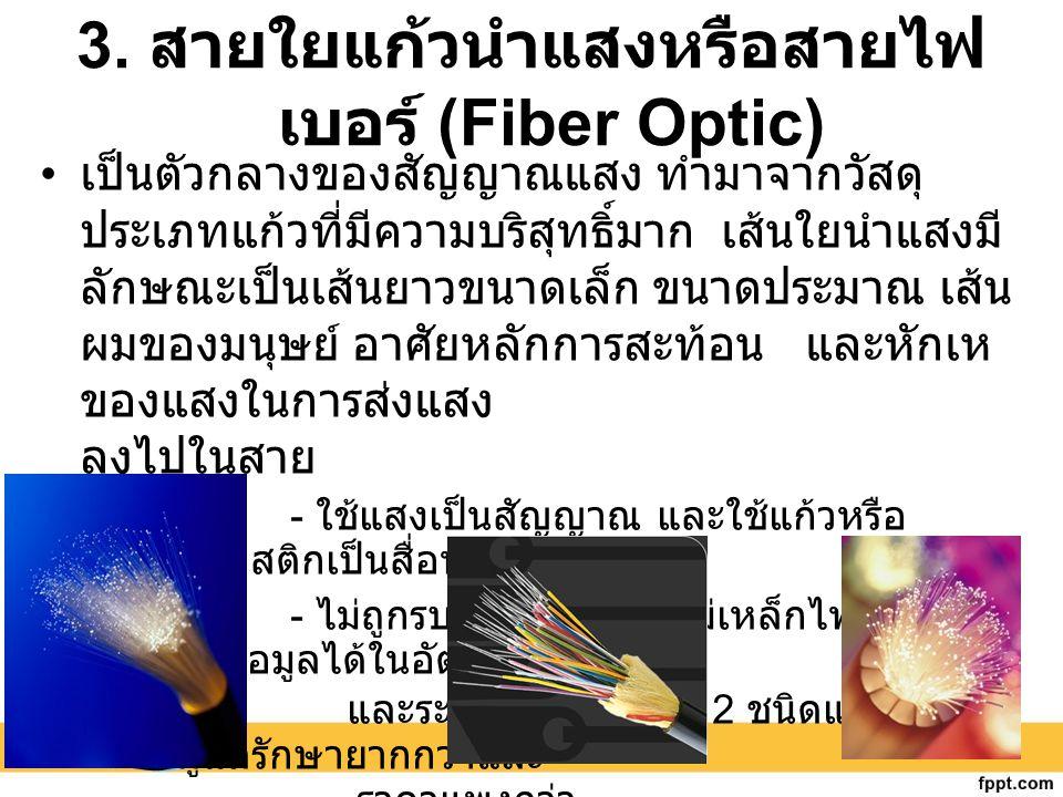 3. สายใยแก้วนำแสงหรือสายไฟ เบอร์ (Fiber Optic) เป็นตัวกลางของสัญญาณแสง ทำมาจากวัสดุ ประเภทแก้วที่มีความบริสุทธิ์มาก เส้นใยนำแสงมี ลักษณะเป็นเส้นยาวขนา