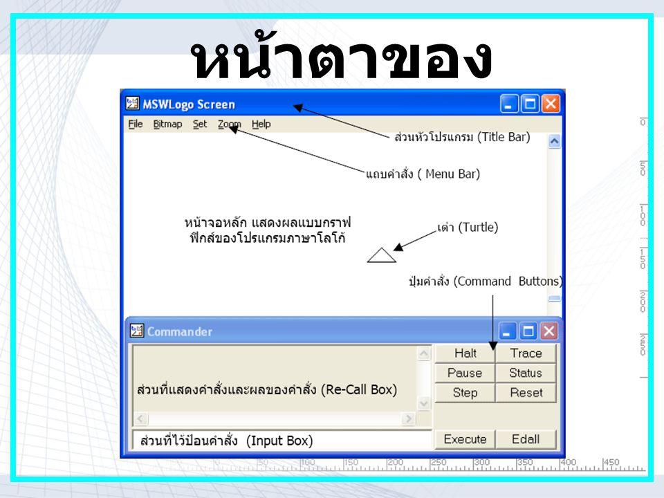 HBHG คำสั่งพื้นฐานในการ เขียน โปรแกรมโลโก เราสามารถเขียนคำสั่งย่อ (Shortcut Commands) ได้ดังนี้ Home ไม่มีคำย่อ กลับไปยังจุดเริ่มต้น CS หมายถึง ClearScreen ( เคลียร์ หน้าจอ ) HT หมายถึง Hide Turtle ( การซ่อน เต่า ) ST หมายถึง Show Turtle ( การแสดง ตัวเต่า ) Pu หมายถึง Penup ( ยกเต่า ) Pd หมายถึง Pendown ( วางเต่า ) Fill หมายถึง เทสีภายใน Pe = เปลี่ยนจากปากกาเป็นยางลบ PPt = PenPaint คือ เปลี่ยนจากยางลบเป็น ปากกา