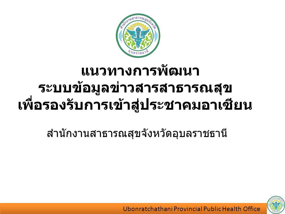 Ubonratchathani Provincial Public Health Office Ubonratchathani Provincial Public Health Office แนวทางการพัฒนา ระบบข้อมูลข่าวสารสาธารณสุข เพื่อรองรับก