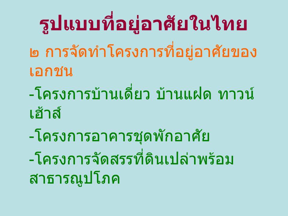 รูปแบบที่อยู่อาศัยในไทย ๒ การจัดทำโครงการที่อยู่อาศัยของ เอกชน - โครงการบ้านเดี่ยว บ้านแฝด ทาวน์ เฮ้าส์ - โครงการอาคารชุดพักอาศัย - โครงการจัดสรรที่ดิ