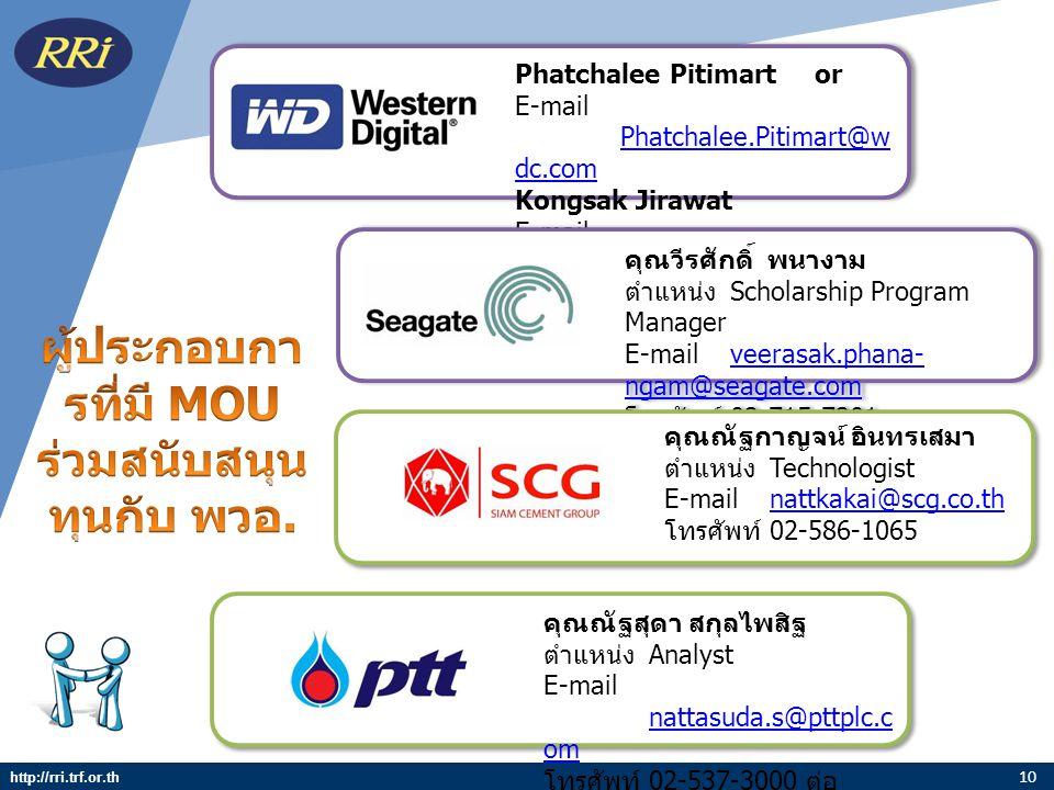 10 Phatchalee Pitimart or E-mail Phatchalee.Pitimart@w dc.com Phatchalee.Pitimart@w dc.com Kongsak Jirawat E-mail Kongsak.Jirawat@wdc.c om Kongsak.Jir