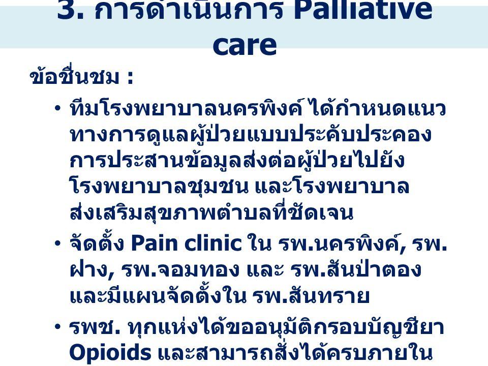 3. การดำเนินการ Palliative care ข้อชื่นชม : ทีมโรงพยาบาลนครพิงค์ ได้กำหนดแนว ทางการดูแลผู้ป่วยแบบประคับประคอง การประสานข้อมูลส่งต่อผู้ป่วยไปยัง โรงพยา