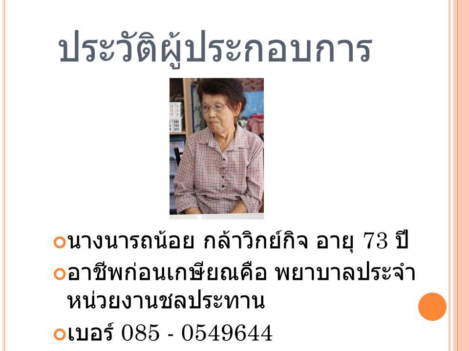 ประวัติผู้ประกอบการ นางนารถน้อย กล้าวิกย์กิจ อายุ 73 ปี อาชีพก่อนเกษียณคือ พยาบาลประจำ หน่วยงานชลประทาน เบอร์ 085 - 0549644