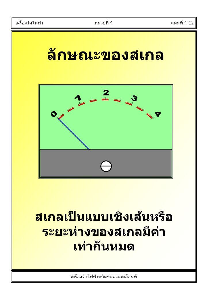 ลักษณะของสเกล แผ่นที่ 4-12 เครื่องวัดไฟฟ้า สเกลเป็นแบบเชิงเส้นหรือ ระยะห่างของสเกลมีค่า เท่ากันหมด หน่วยที่ 4 เครื่องวัดไฟฟ้าชนิดขดลวดเคลื่อนที่